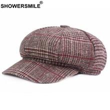 1d2b64b0e18c8 SHOWERSMILE de vendedor de tapas de algodón de las mujeres a cuadros  octogonal sombrero mujer pata