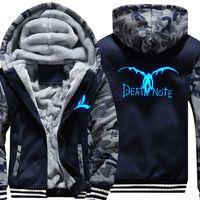 USA SIZE Unisex Fashion Hoodies Death Note Men Winter Fleece Thicken Luminous Sweatshirts Camouflage Jacket Coat 2018 NEW