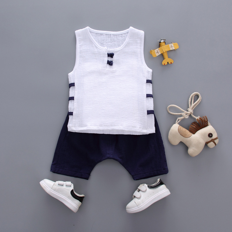 Boy summer fashion vest shorts two-piece Boy Cotton Chinese Style SetBoy Sleeveless Sweat Vest Set Boy vintage two-piece