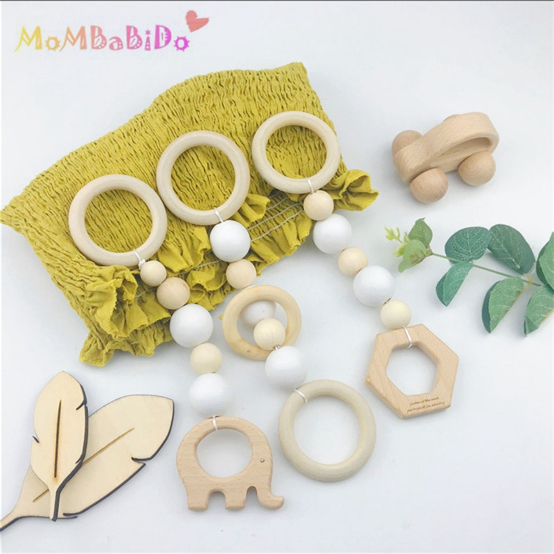 3Pcs Wood Baby Play Gym Can Chew Beech Baby Teething Beads Wooden Shower Gift Bed Toys Child Teether Baby Rattles Best Gifts