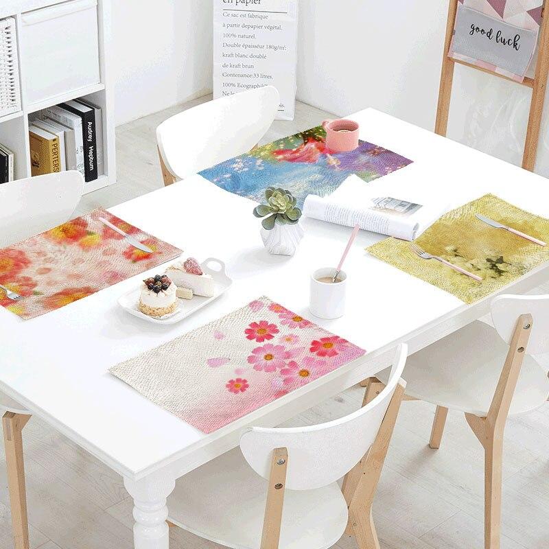 Bright Color Linen Table Napkins Tea Placemat Polyester Flower Sunflower Servilletas Para Bodas Design Party Decoration