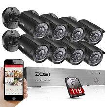 ZOSI 8-Channel 1080N HD-TVI DVR Caméra de Surveillance Kit 8x 1280TVL 720 P Intérieur Extérieur IR Intempéries Caméras 1 TB HDD