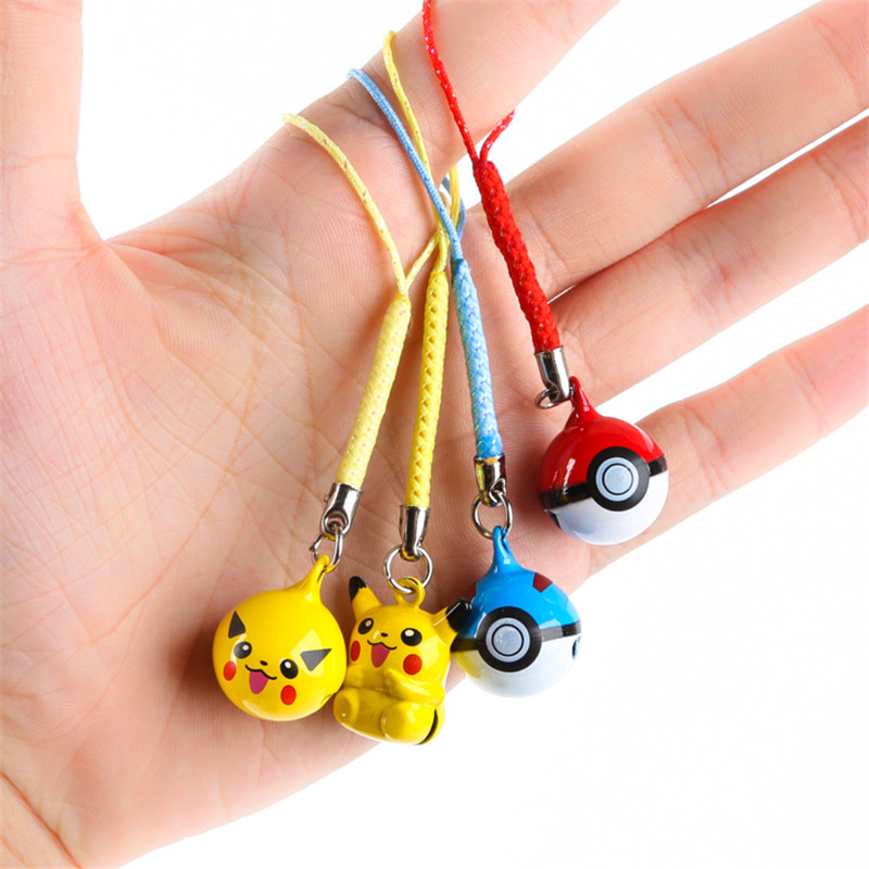 1Pcs Cute Anime Pokemon Pikachu Elf Ball Keychains Keyring Bell Key Chain Bag Pendant Boys Phone Straps Kids Party Gift