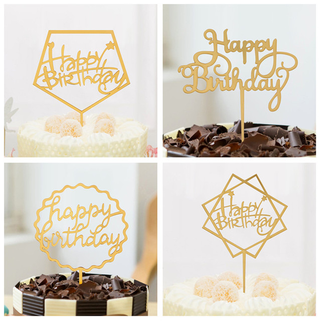1 Pc Pink Gold Black Happy Birthday Love Cake Topper Acrylic Flags For Wedding