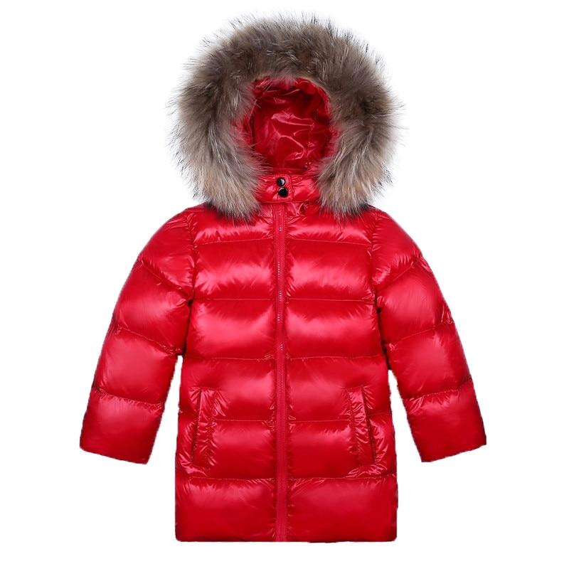 Buenos Ninos Children Boys Girls Duck Down Jackets  Children Thick Parkas Girl Fur Collar Outerwear Cold Winter Coats
