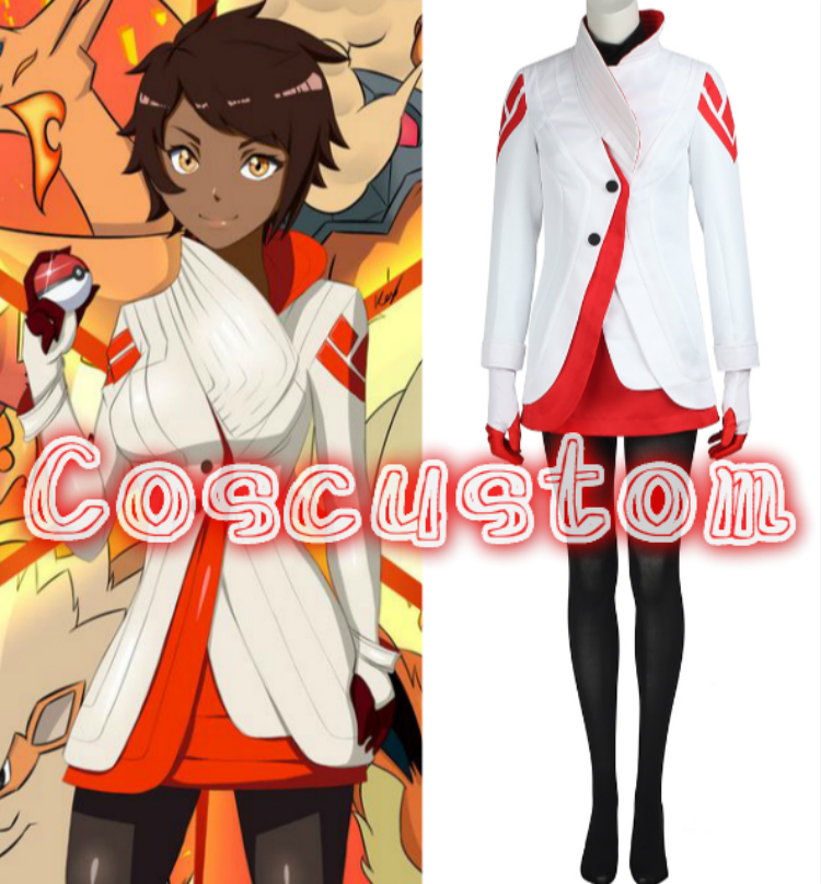 Coscustom High Quality Pokemon Go Team Costume Pokemon Go Trainer Uniform Team valor Candela Costume Halloween Cosplay Costume