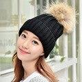 2016 new knitted hat fashion Women Crochet Hats Real Raccoon Fur Caps Winter Cute Casual Warm Skullies Ladies Beanies Bonnet