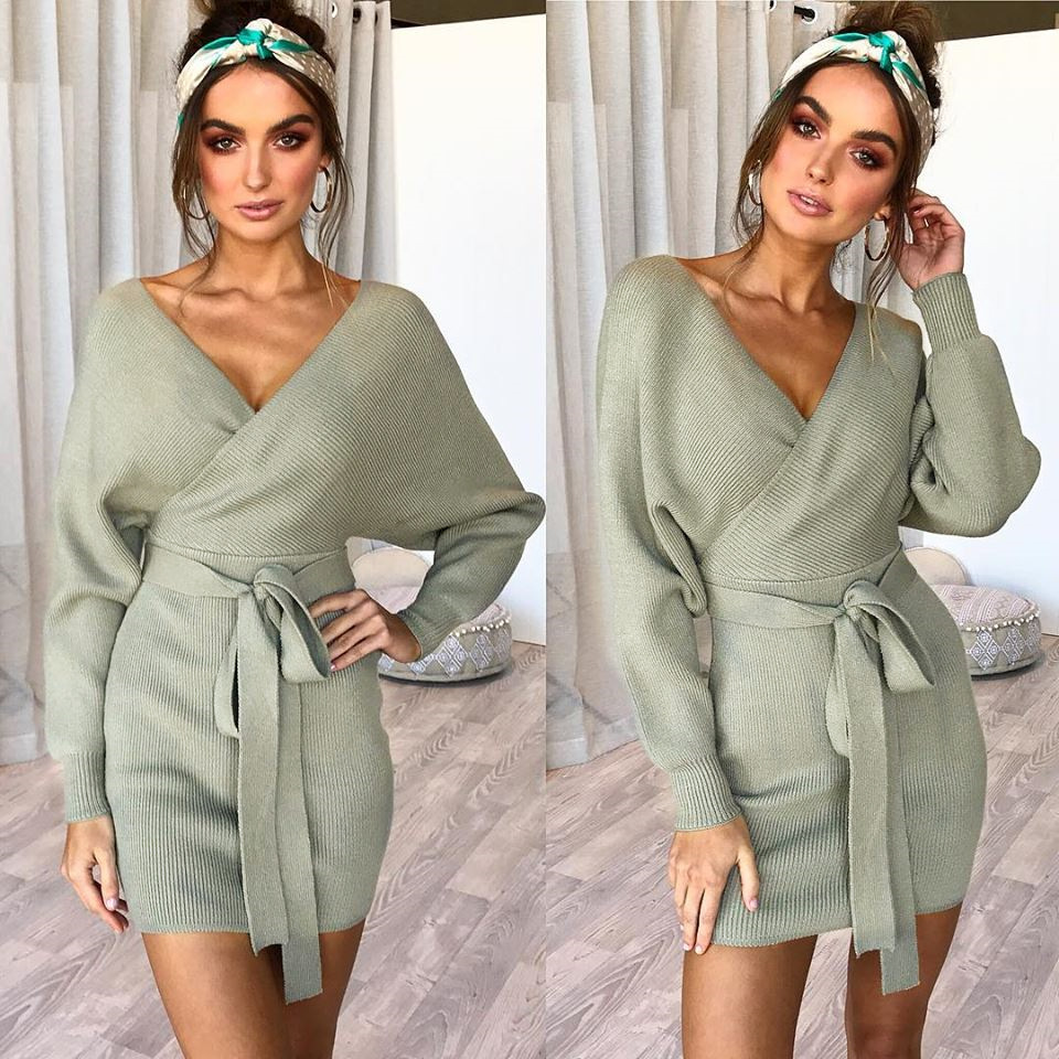 Women Korean Backless dress knitted mini dress autumn winter ladies sexy Warm V Neck Belted sweaters dress long sleeve vintage in Cardigans from Women 39 s Clothing