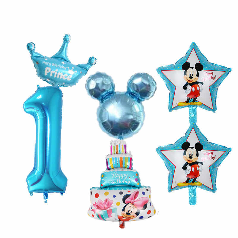 6pcs Kids 1st Birthday Balloons Set Number 1 Foil For Baby Boy Girl One Year