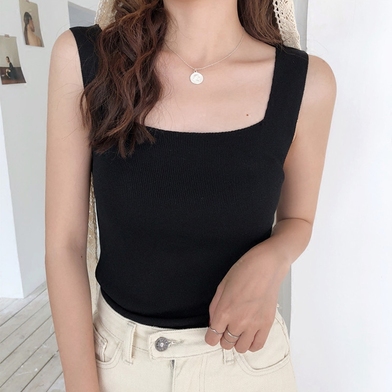 2019 summer short knit   Tank     Tops   Women sexy girls camisole sleeveless t shirt short female basic camis