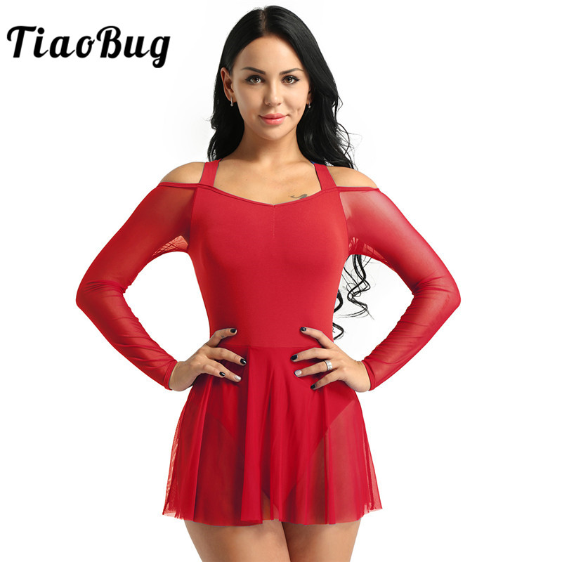 TiaoBug Women Mesh Dance Dress Off The Shoulder Long Sleeve Ballet Gymnastics Leotard Stage Figure Skating Lyrical Dance Costume