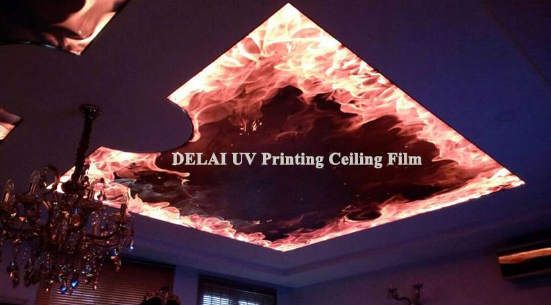 US $13 0 50% OFF|Vivid Fire burning Printing Translcuent Stretch Ceiling  Film with leds in the middle/ living room decoration-in Wallpapers from  Home