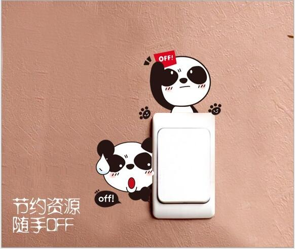 Cartoon Cute Little Panda Fun Stickers Bedroom Living Room Outlet Reminder Turn Off The Light