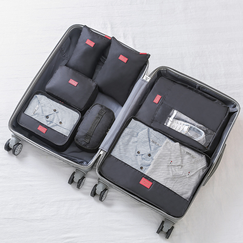 Travel Bag Male Female Polyester 7 Pieces Packing Cubes Portable Travel Luggage Underwear Sorting Organizer Cube Set Totes