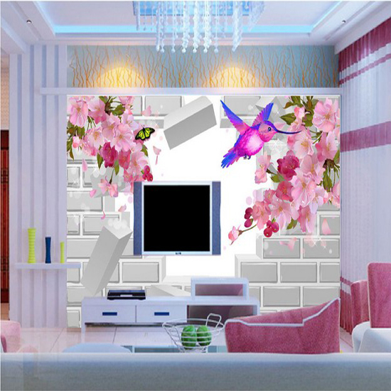 Custom 3d Mural 3D Movie Wallpaper Bedroom Sofa TV Background Wall Birds Fragrance Flowers Fresh Nature In Wallpapers From Home Improvement