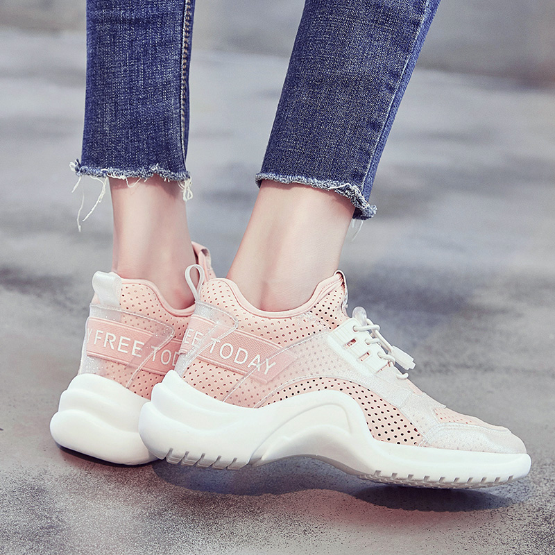 2018 Ulzzang harajuku powder shoes female web celebrity and Korean version of  exercise student autumn sneakers 5