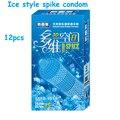 (24 unids) 3D espacios condón g spot condom estilo hielo condones de látex para hombres pico acanalado camisinha condon con paquete al por menor