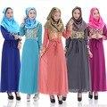 BooLawDee abaya musulmán con fajas gasa de la capa doble femenino bronceado T22002 comunes manga completo tamaño libre hecho en china