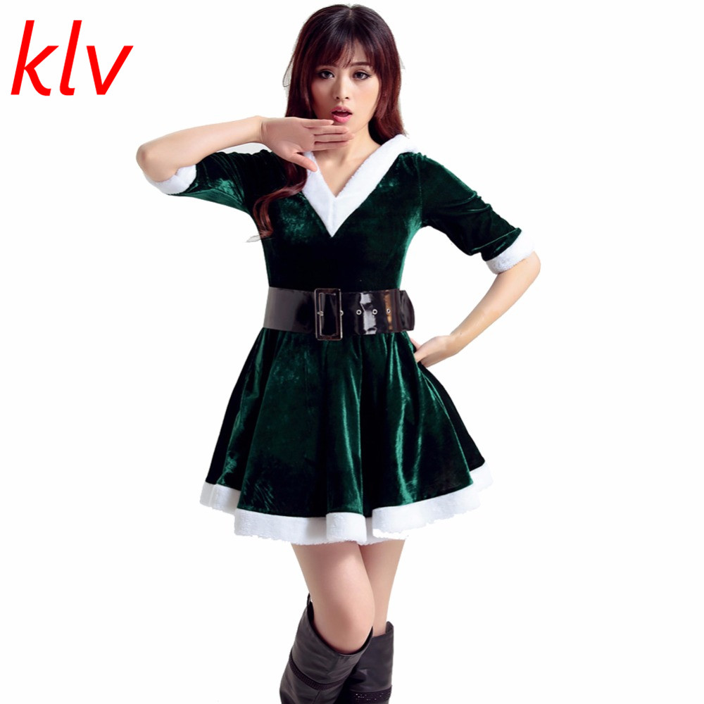 Christmas dress casual - Klvfashion Trendy Adult Women Winter Warm Santa Costume Adult Mrs Miss Claus Sexy V Neck Outfit Christmas Fancy Dress Wear Green