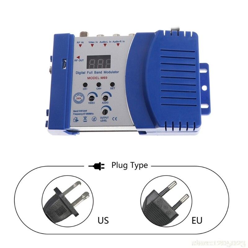 Auto RF Modulator Compact RF Modulator Audio Video TV Converter RHF UHF Signal Amplifier AC230V W329 1pcs lot factory price new high quality tv system av rf audio video converter av to rf modulator for russian market