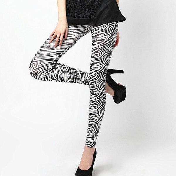 2018 New Zebra Print   Legging   Women Fashion Slim Pencil Pants Stretch Trousers Stretchy Skinny Jeggings Plus Size High Wasit