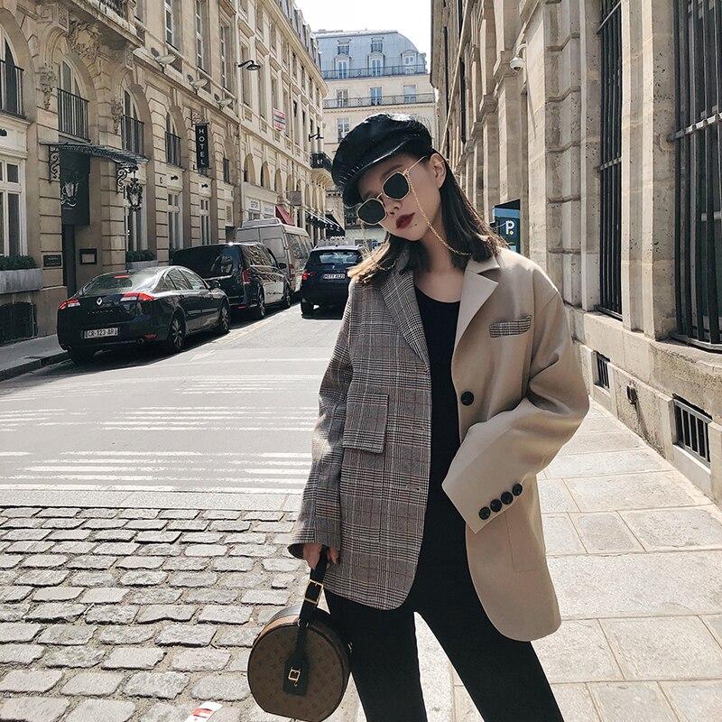 Correspondant Irrégulière Femmes Costume Mode Vintage Nouveau Couleur 2018 Apricot Casual Treillis Getsring Manteau Blazer Manteaux gqdxg408