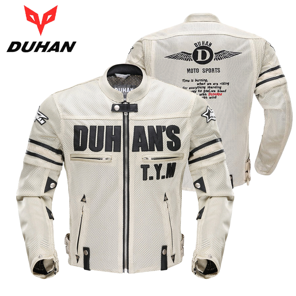 DUHAN Motorcycle Jacket Mens Breathable Mesh Racing Patrol with Removable Protector Summer Moto Jacket Riding Jaqueta Clothing