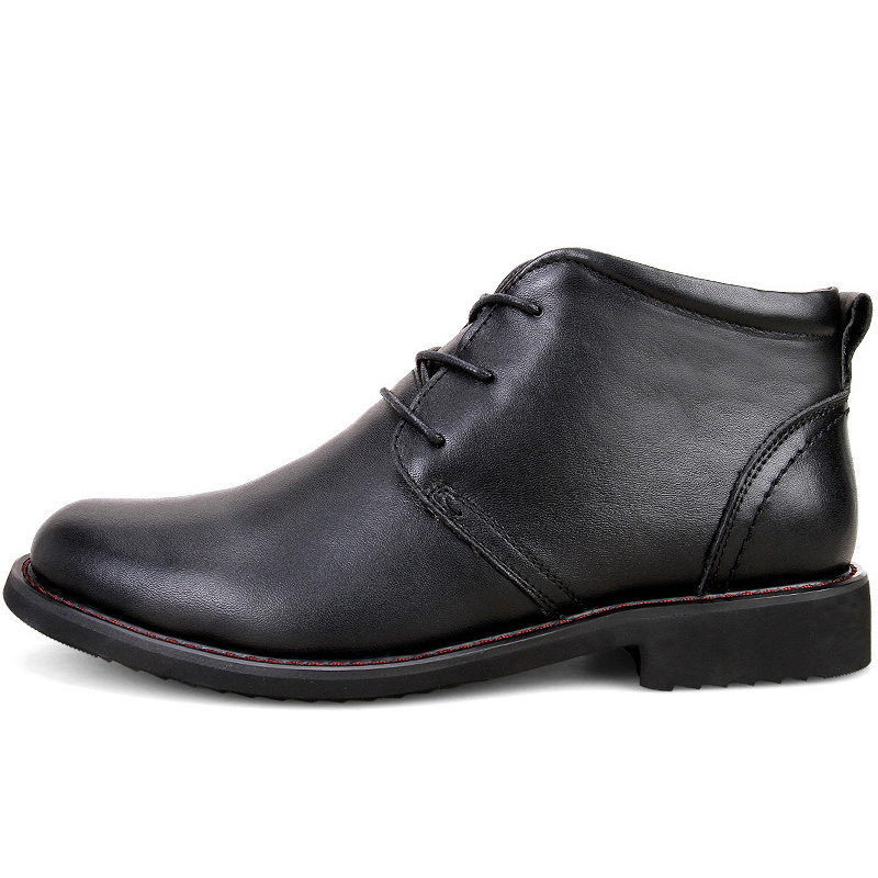 US $41.16 58% OFF|ROXDIA genuine leather boots men plus size 39 45 snow winter work dress shoes male for mens ankle boots with fur black RXM049 in