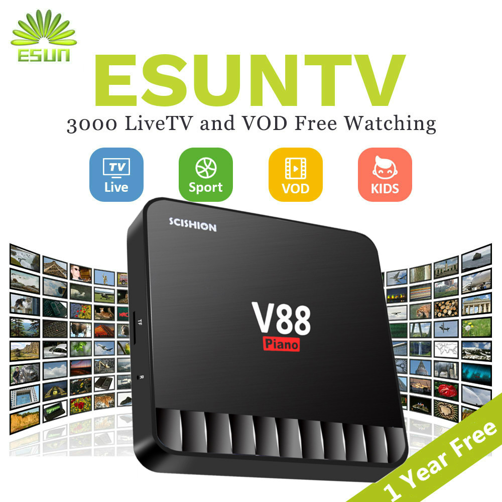 купить 1 Year IPTV Included V88 Piano Android 7.1 IPTV Box 4/16GB Netherlands Spain portugal iptv Albania Adult Portugal Italian XXX по цене 5551.8 рублей