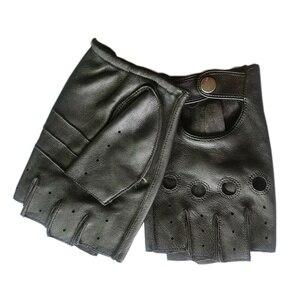 Image 3 - قفازات رجالي من الجلد الطبيعي سوداء عالية الجودة مقاومة للانزلاق قفازات Luvas نصف أصبع من جلد الغنم بدون أصابع قفازات gants moto L01