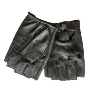 Image 3 - Alta qualidade preto homem luvas de couro genuíno antiderrapante luvas metade dedo couro de ovelha luvas sem dedos gants moto l01