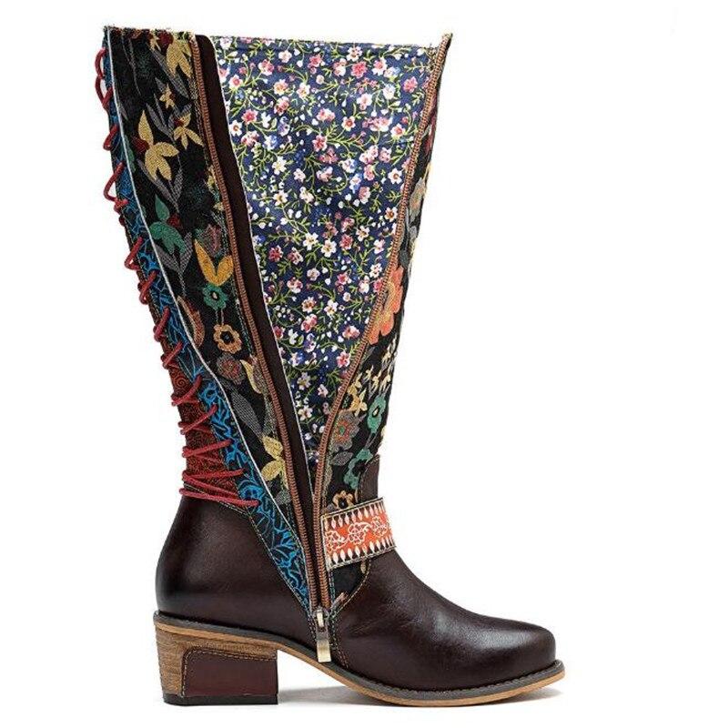 Chaussures Brown Ethnique Patchwork Retour Bout Rétro Brides Broderie Bottes À Lacets mollet Femmes Rond Western Buonoscarpe Mujer Botas Mi 8ymwOv0Nn