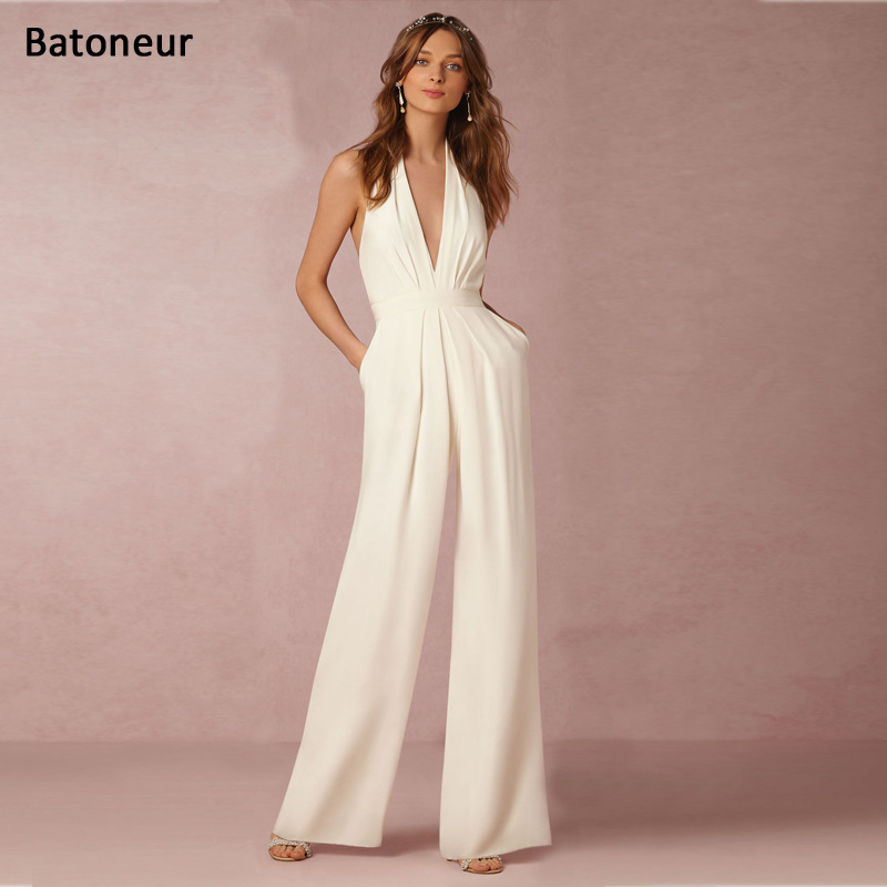 2017 European Style Women Leisure Pants Sexy Sleeveless Halter Tops Blackless Business Office   Jumpsuits   White