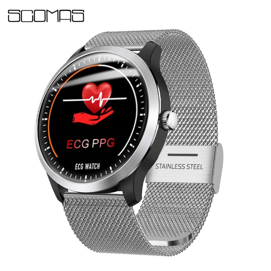 SCOMAS ECG PPG Smart Watch 1.22IPS With Electrocardiograph ECG Display Heart Rate Monitor Blood Pressure Men Women Smartwatch