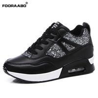 Fooraabo 2017 Tenis Feminino Sapato נעליים מזדמנים נשים נעלי פלטפורמת טריז העקב נסתר עור סל Femme אוויר נעלי כוכב