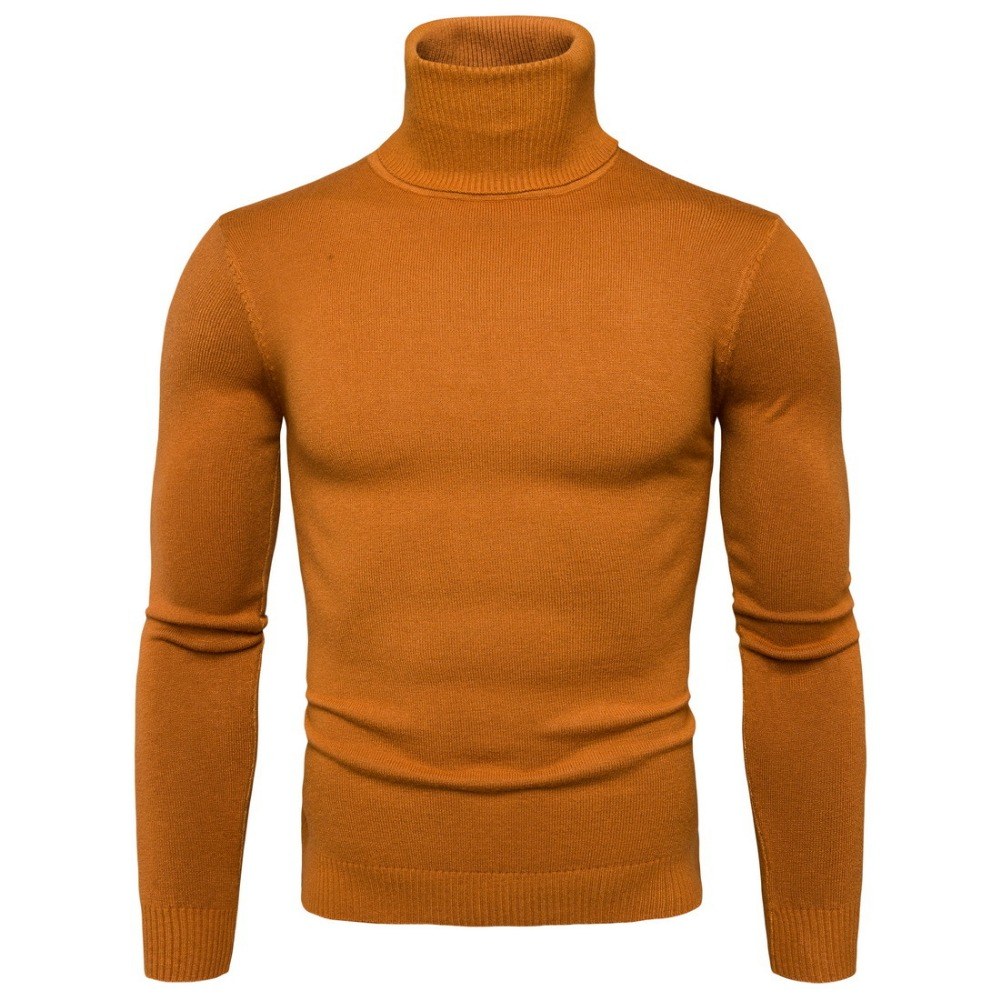 Autumn And Winter Men's Sweater Fashiion Solid Turtleneck Sweaters Men Casual Slim Fit Long Sleeve Knitted High Elastic Sweater