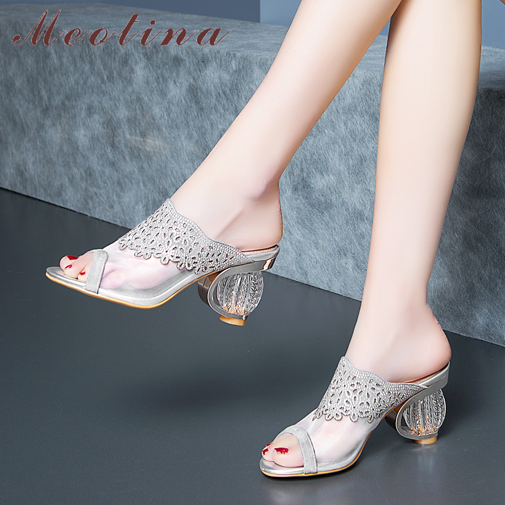 Meotina <font><b>Women</b></font> <font><b>Shoes</b></font> Summer <font><b>Slippers</b></font> Transparent Strange Style <font><b>High</b></font> <font><b>Heel</b></font> <font><b>Shoes</b></font> <font><b>Sexy</b></font> Crystal Peep Toe Slides Party Sandals Lady 39 image