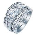 Женщины обручальное кольцо 3 шт. кольцо устанавливает леди новое Обручальное Кольцо микро проложили белый cz циркон ювелирные изделия 2016 мода ОБЕЩАНИЕ КОЛЬЦА наборы