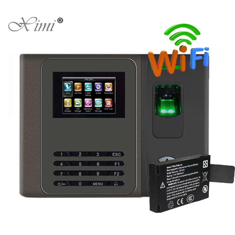 Free Shipping TCP/IP Biometric Fingerprint Time Attendance With WIFI Fingerprint Time Recording Time Clock With Backup Battery