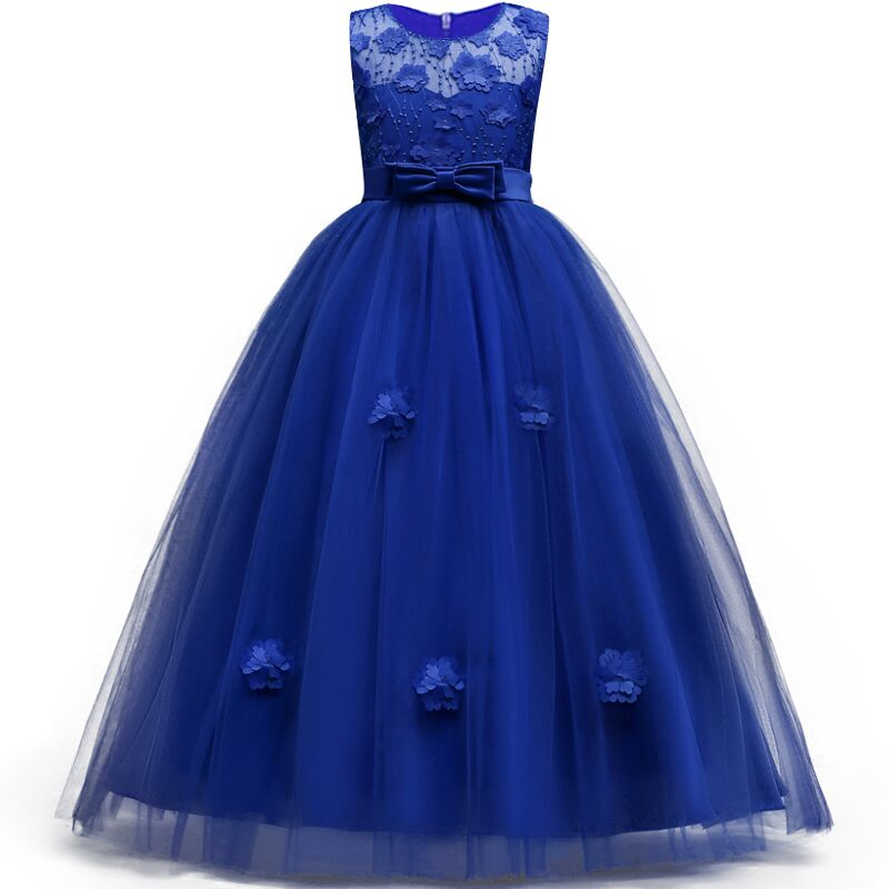 Flower   Appliques Teens   Girls   Long   Dress   Summer New Style   Flower     Girls     Dress   for 5-14Yrs Princess   Girls   Party Wedding Gowns