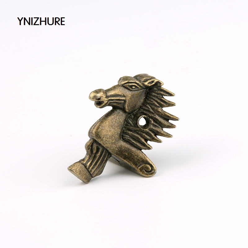 Free shipping 20Pcs 28 39mm Antique Bronze Horse Head Jewelry Gift Box Wood Case Decorative Feet