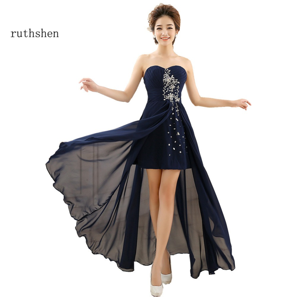 ruthshen Navy Blue   Prom     Dresses   2018 New Cheap Rhinestones Beaded Asymmetrical Formal Womens Evening Gowns Long Party   Dress