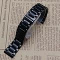 Pulseiras de relógio de substituição 14mm 15mm 16mm 17mm 18mm 19mm 20mm 21mm 22mm preto de Aço Inoxidável Assista Pulseira Strap Banda Reta Final