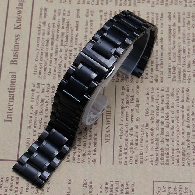 Reemplazo de correas de reloj 14mm 15mm 16mm 17mm 18mm 19mm 20mm 21mm 22mm negro de Acero Inoxidable Correa de Reloj Pulsera de la Correa Extremo Recto