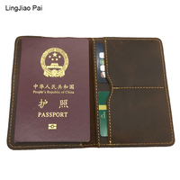 LingJiao Pai Multifuctional Travel Crazy Cow Skin Passport Cover Case Genuine Leather Passport Protector ID Card