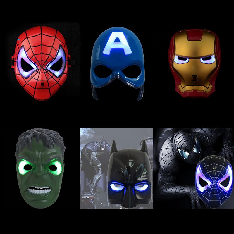 100pcs/lot EMS Shipping Free LED Glowing Super Hero Mask The Avengers Spiderman Captain America Iron Man Halloween Mask Toy north america free shipping super bright 54w led corn light waterproof 100v 300v ul certified 12pcs lot for art museum