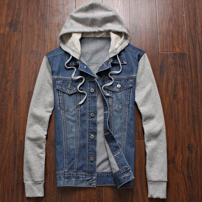 2019 Promotion Solid Veste Homme Military Male Hooded Jacket Spliced Jeans Jackets For Men Spring Autumn Clothes New Denim Coat