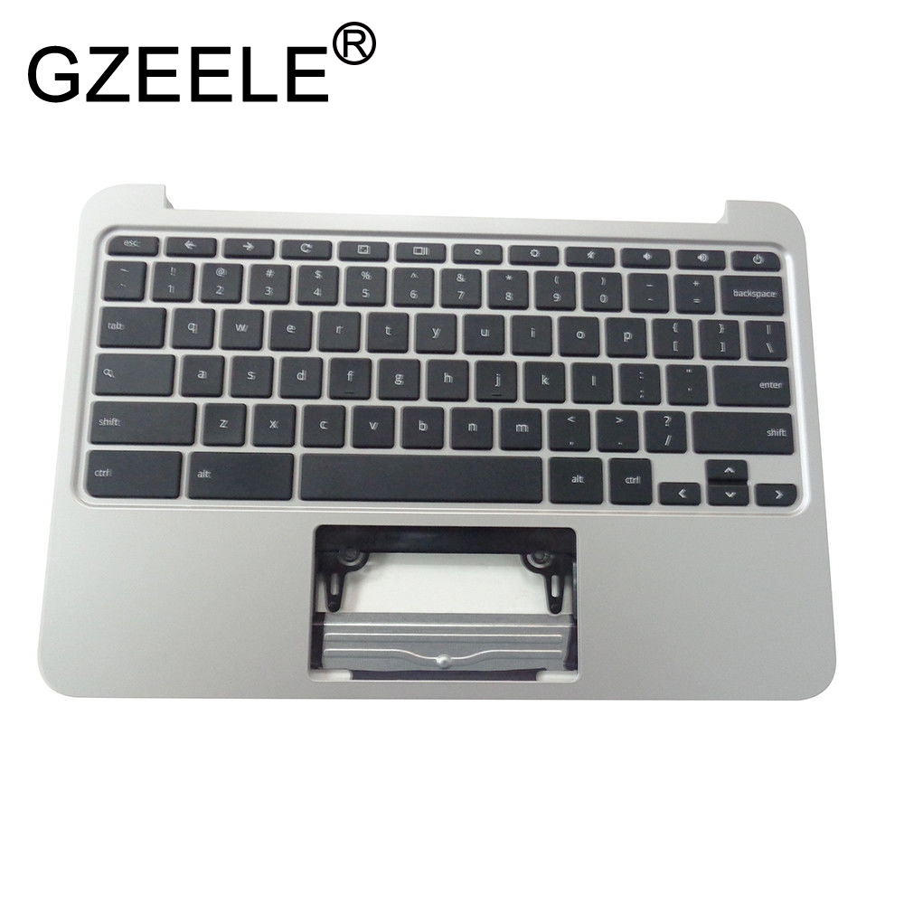 GZEELE new for HP Chromebook 11 G4 11 G3 series Palmrest Top Case Assembly upper cover keyboard bezel laptop 788639-001 SILVER