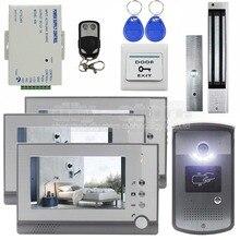 DIYSECUR 7inch Video Door Phone Door Bell Intercom RFID Reader Metal Night Vision Camera Magnetic Lock Remote Control System
