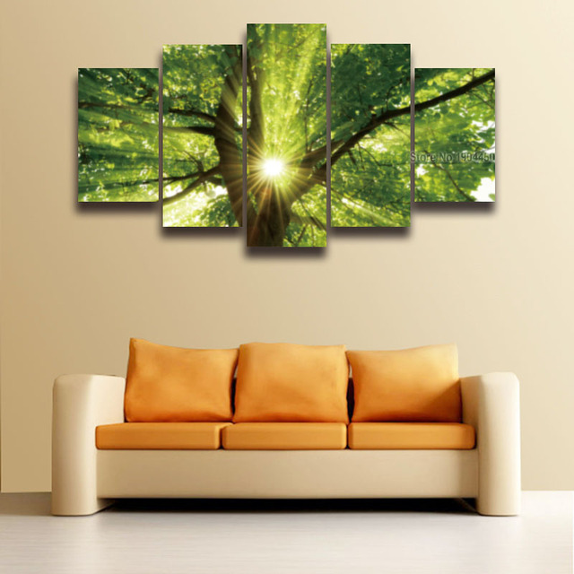 5 Panel Printed Sunlight Green Tree Landscape Painting on Canvas ...
